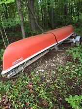 Fiberglas Canoe, 17 ft, trailer, 5 paddles,3 lifevests, 3 cushions, launch caddy