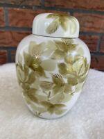 """Vintage Porcelain Ginger Jar Vase Lid Urn Beige Flowers Gold Detail 6"""" x 14"""""""