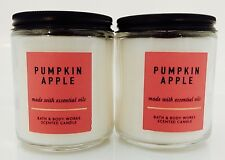 2 BATH & BODY WORKS PUMPKIN APPLE SCENTED 1 WICK 7oz CANDLE TOTAL 14oz NEW!