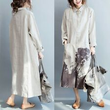 Chinese Ink Painting Shirt Ladies Loose Pocket Maxi Blouse Cotton Linen Oversize