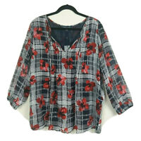 Tommy Hilfiger Women's Size 1X Navy White Red Plaid Floral 3/4 Sleeve Blouse New