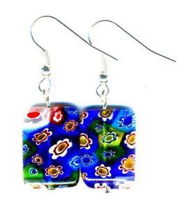 Millefiori Earrings Glass Jewellery, Rectangle