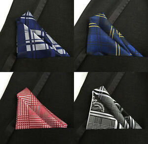 Set 6 Picecs Plaids & Checks Handkerchiefs Men's Pocket Square Silk Hanky Party
