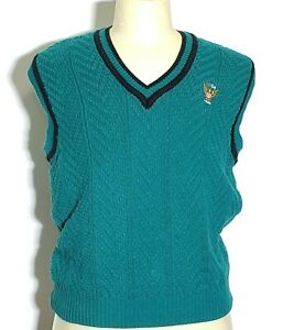 US OPEN golf collection Men M Sweater Vest Teal Cotton Knit Preppy #U712