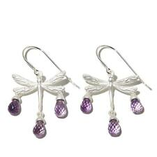 "REBECCA HOOK JEWELRY AMETHYST ""DRAGONFLY"" DROP STERLING SILVER EARRINGS HSN $69"