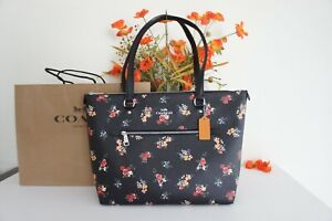 NWT COACH 6474 Gallery Tote With Wildflower Print Canvas & Leather Black Multi