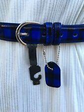 New Women's Blue and Black Plaid Belt