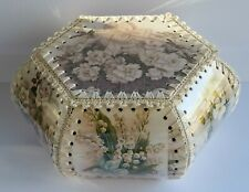 Vintage Style Crocheted Card Hankie Box/Sewing Box with Vintage Flower Images