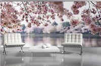 Papier peint photo murale Fleurs Roses Lac et arbres décoration géant