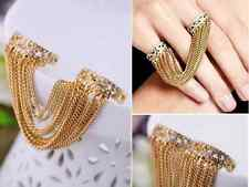 Fashion white glass diamante crystal tassel gold tone dangle finger ring