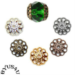 BEAD CAP FINDING 8mm FANCY ROUND FILIGREE MEDALLION STAR VINTAGE STYLE 50pc