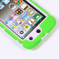 Deluxe Green On White Body Armor 3-Piece Hard Case For Ipod Touch 4 4th 4G Gen