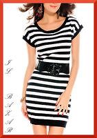 Vestito donna abito corto elasticizzato maglia manica corta righe nuovo
