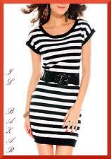 vestito donna abito stile pullover righe bianco-nero tg u(cintura non inclusa)