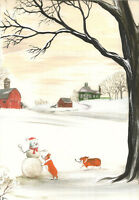 8X10 PEMBROKE WELSH CORGI PRINT OF PAINTING FOLK ART RYTA SNOWMAN CHRISTMAS