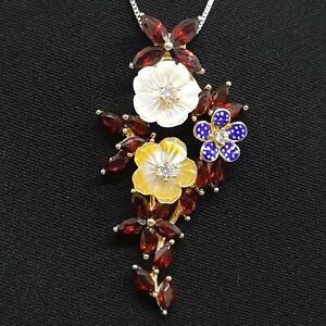 7.20ct Mother of Pearl,Garnet & Diamond Cut Sapphire 14K Yellow Gold 925 Pendant