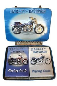 2001 Collector Tin w/ Harley Davidson Playing Cards, Two New Decks, Unopened