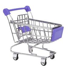 Mini Trolley Supermarket Shopping Cart Phone Holder Kids Pretend Toy Purple