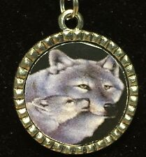 """Wolf & Cub Charm Tibetan Silver with 18"""" Necklace A51"""