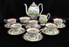 Royal Albert Chelsea Bird Pattern (Maroon) Porcelain Coffee or Tea Service 15 pc