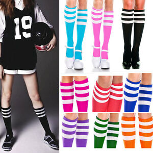 1-4PC Opaque Color Knee Hi Acrylic Athletic Skater Socks 3 White Striped Trim OS