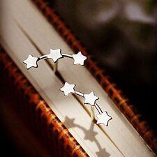 Hot Fashion 1 Pair Lady Stud Earrings Triple Stars Ear Sterling Silver Plated