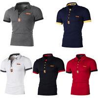 Herren Sommer Kurzarm Polo Shirt Hemd Slim Fit Poloshirt Polohemd Freizeithemd