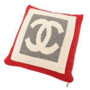 Authentic Chanel Wool Cashmere Coco Mark Double Face Cushion Ivory Gray Red Used