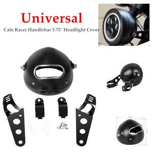 "5.75"" Motorcycle Headlight Lamp Fairing Retro Racer Light Cover Housing Stents"