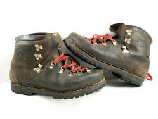 VINTAGE BROWN LEATHER MOUNTAINEERING BOOTS GERMANY CLIMBING HIKING VIBRAM ITALY