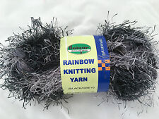 50g 1 X 50g QUALITY BLACK GREY RAINBOW EYELASH MIX HAND KNITTING WOOL NEW L@@K