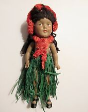 "Shirley Temple 1937 13"" Ideal Marama Hawaiian Composition Doll w/ Green Skirt"