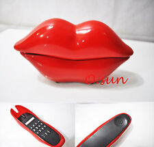 New Red Glossy Mouth Lips Style Office Home Desk Corded Phone Telephone