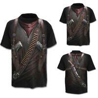 Men Summer Western Cowboy 3D Print Round Neck Short Sleeve Top Shirt Blouse US