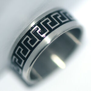 Black Womens Stainless Steel Band Ring Fashion Jewelry Female Lady Rings Size 8