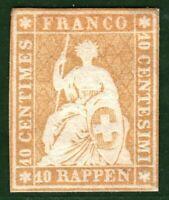 SWITZERLAND Helvetia Stamp 10r *COLOUR TRIAL* (c1854) Unused MNG Rare** ORANGE6