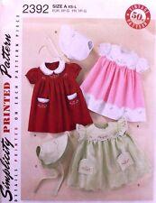 DRESS * BONNET Simplicity Pattern 2392 NEW Size Infant/Girl XS-L