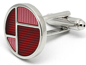 Cufflinks.Direct Funky Silver, Hot Pink and Red Round Enamel Cufflinks