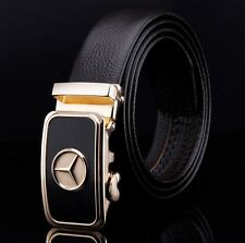 Belt Men's Genuine Leather Cowskin Designer Black Gold CarLogo Buckle Mens New <