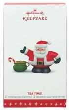 Hallmark Keepsake - Tea Time! Santa - 2 Ornaments