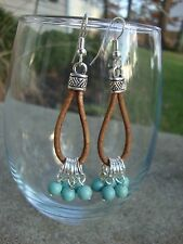 Silver Turquoise Dangle Earrings with Brown Leather Handmade Usa