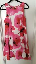 Maggy London Pink Floral Sleeveless Dress, Size 12. Front Pockets.