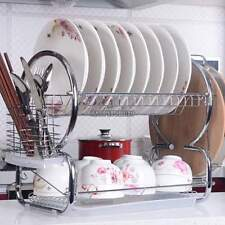 Dish Drying Rack Drainer Kitchen Stainless Steel Draining 2Tier Cutlery Holder