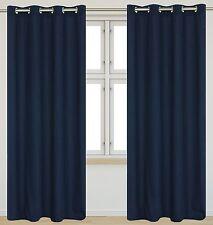 """Faux Cotton 54""""x95""""-in Karma Grommet 2-Piece Curtain Set, Navy Blue"""