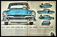 1955 PLYMOUTH BELVEDERE 4-door Sedan 2-page Photo AD //
