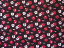 2016 5-10 SPRINGS FABRICS FABRIC BY THE 1/2 YARD-APPLES ON BLACK-CRAFTS,DOLLS++