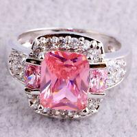 Damen Silber Überzogen Edelstein Ringe Schmuck Rosa Lila Zirkon Ring Größe 5-13