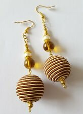 New Handmade Yellow Gold Glass Pearl Stripe Round Beaded Dangle Drop Earrings