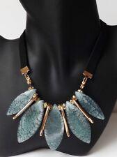 Kette Halskette Collier Choker Strass Acryl Anhänger petrol grün gold schwarz