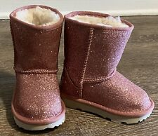 UGG Little Girls Kids Classic Short II Glitter Pink Boots Lined Toddler Baby 6